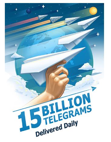 15 billions telegrams daily