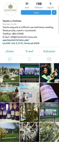 instagram marketing tenuta la fortezza campania