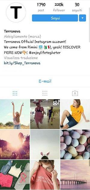 instagram marketing terranova abbigliamento