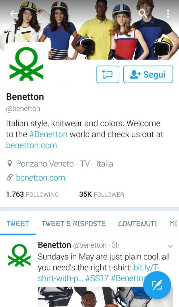 Twitter marketing per aziende e start up Benetton