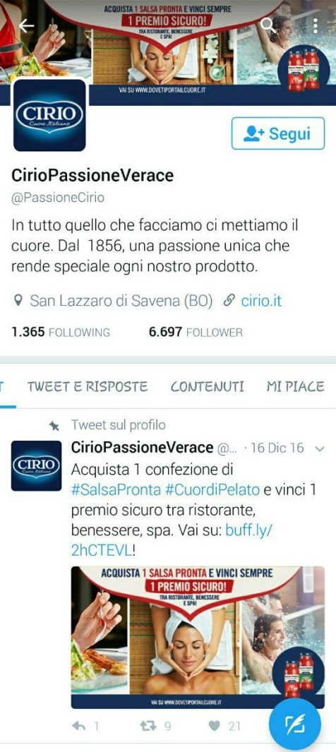 Twitter marketing per aziende e start up Cirio
