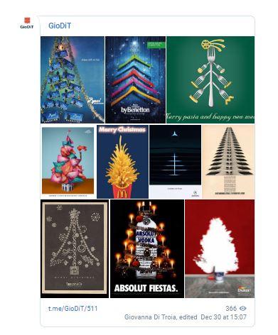 su Telegram con le pubblicità con gli alberi di Natale più creativi