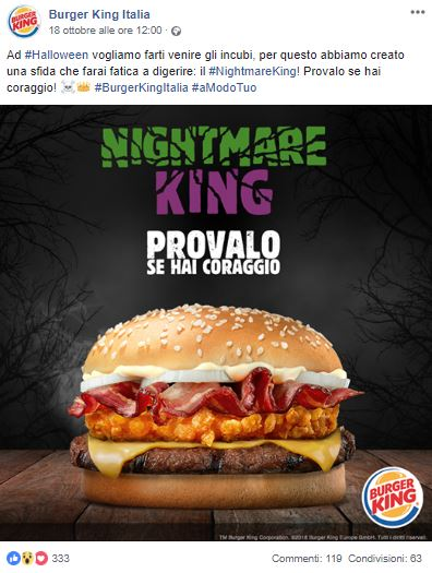 Burger King_ cosa postare su Facebook per Halloween