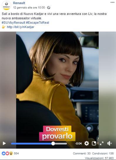 pubblicità renault virtual brand ambassador