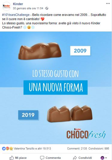 #10YearChallenge sui social _Kinder