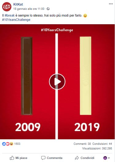 #10YearChallenge sui social _KitKat