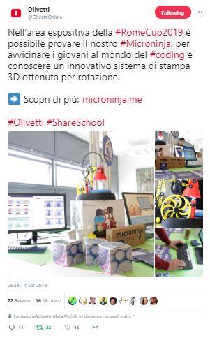 Coding con Olivetti alla Rome Cup 2019