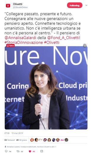 Dichiarazioni Fondazione Olivetti _ mostra Twitter