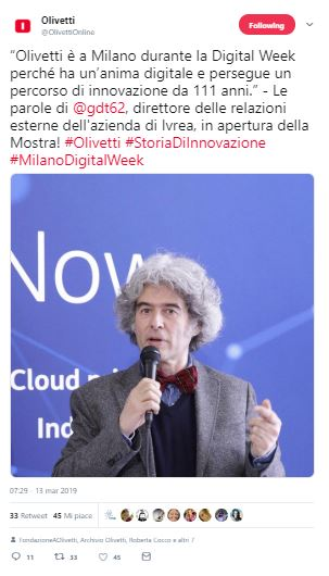 Olivetti Storia Di Innovazione dichiarazioni Gaetano di Tondo_ Twitter