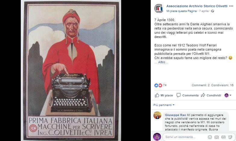 pubblicità con Dante Alighieri della macchina da scrivere Olivetti Storia di Innovazione