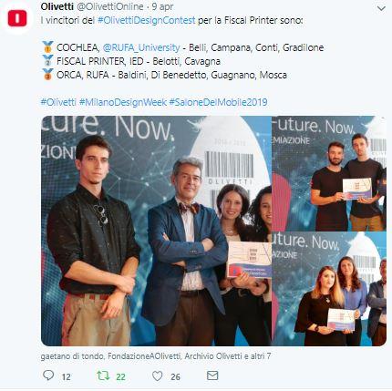vincitori fiscal printer Olivetti Design Contest: premiazioni social