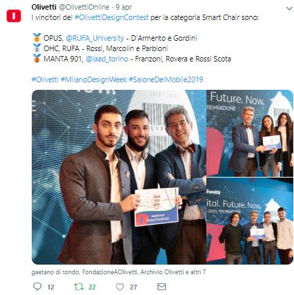 vincitori smart chair Olivetti Design Contest