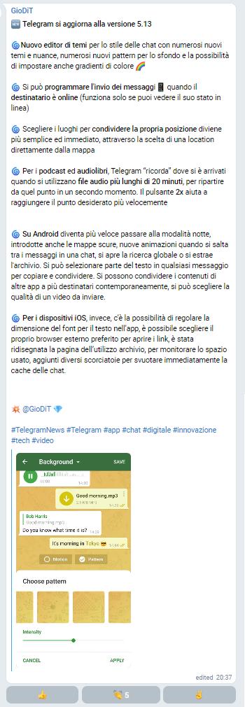 l'ultimo aggiornamento di Telegram_GioDiT